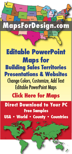 Editable PowerPoint maps for sales territories, presentations