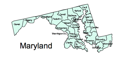 Maryland County Map, Regional blank, outline map