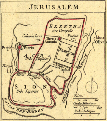 Jerusalem City 1735 map, Middle East, Bible, Royalty Free, jpg