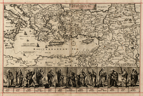Mediterranean 1680 map travels of Paul, Royalty Free