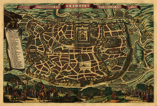 Jerusalem City 1660 Map, Middle East, Bible, Royalty Free, jpg