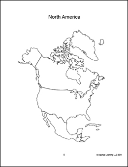North America map blank outline, coloring book