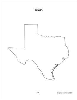 texas blank outline map, geography, coloring book