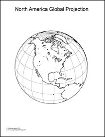 World Projection Map, North American Globe, long and lat lines