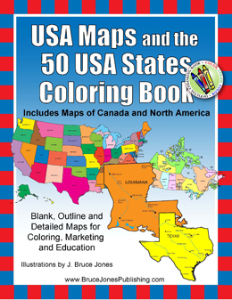 usa and 50 states maps coloring book