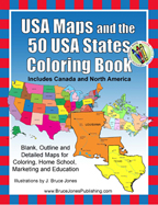 USA Maps, 50 USA States coloring book