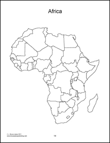 africa continent, outline map, countries, blank