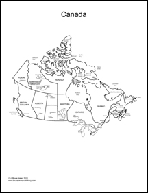 Canada outline Map, broken down by provinces