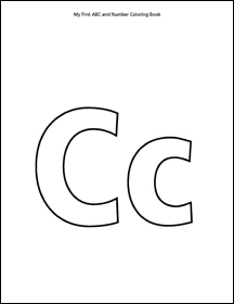 letter c coloring page from abc and number coloring book