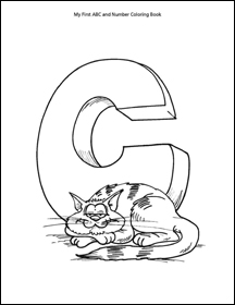 letter c coloring page with cat, kitten