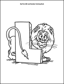 letter L with lion, from abc and number coloring book