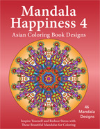 Mandala Happiness 4 Asian designs adult coloring book