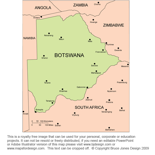 Botswana Africa Map royalty free jpg map