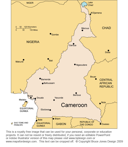 Cameroon Africa country map, royalty free jpg map