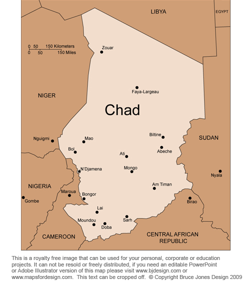 Chad Africa counry, royalty free jpg clip art map