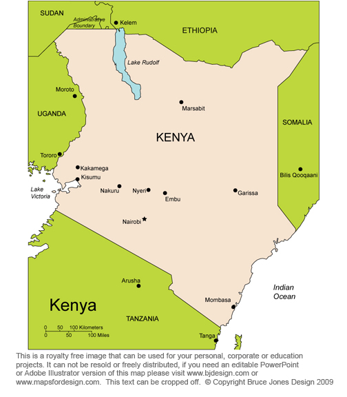 Kenya Africa country map, royalty free jpg clip art map