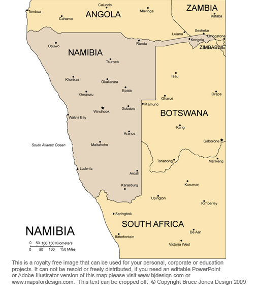 Namibia Africa Country map, royalty free jpg clip art maps