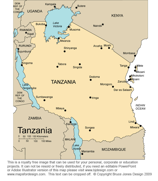 Tanzania Africa Country map, royalty free jpg clip art map