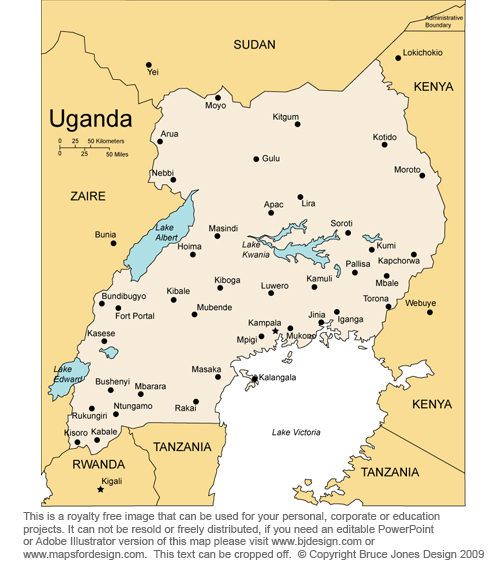 Uganda Africa Country map, royalty free jpg clip art map