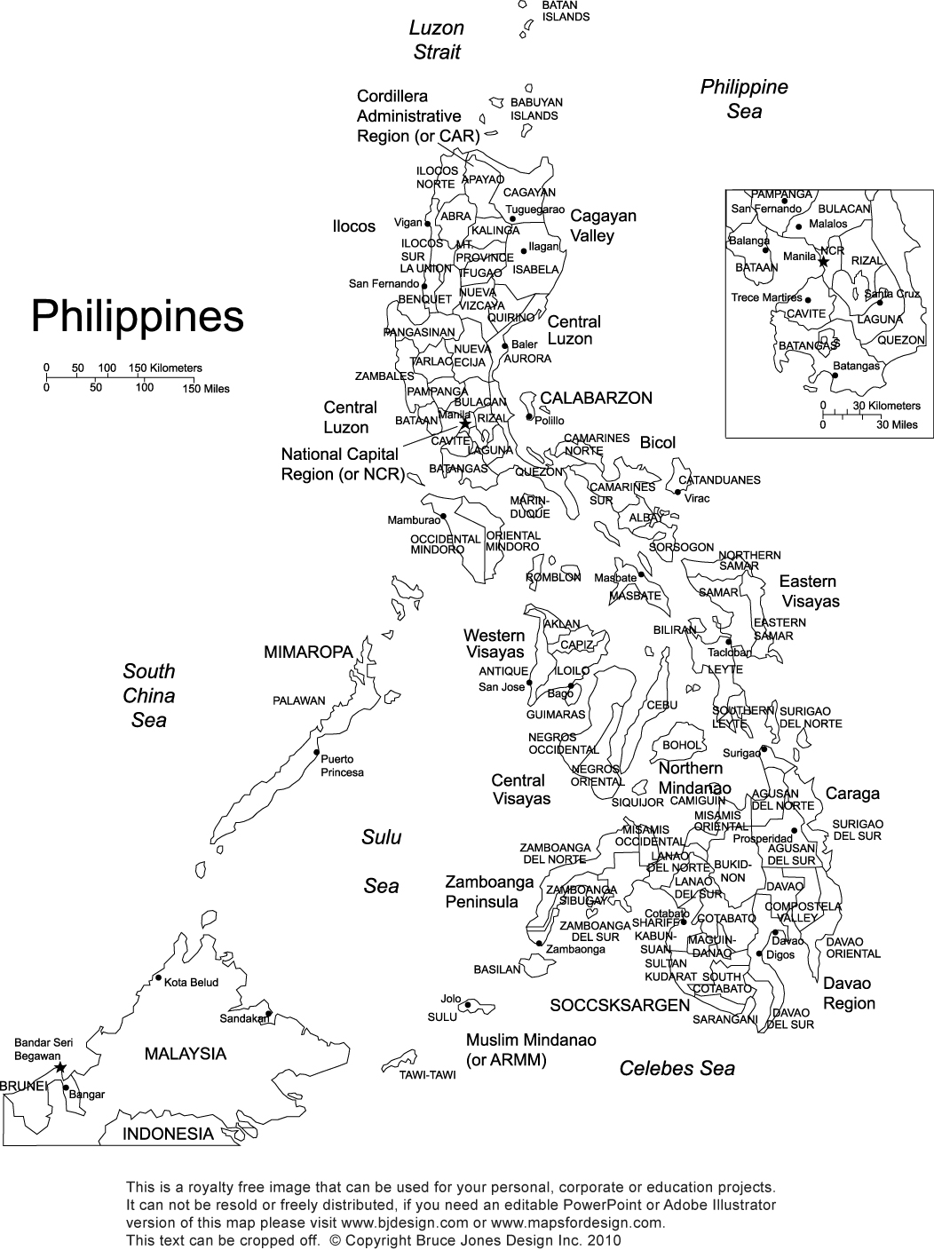 Philippines printable blank map, royalty free, Manila