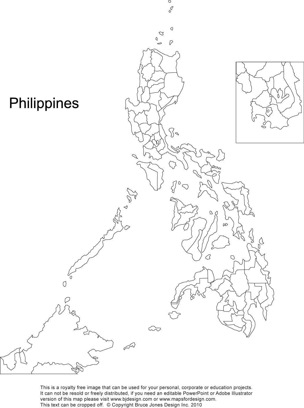 Philippines blank printable, royalty free, Manila