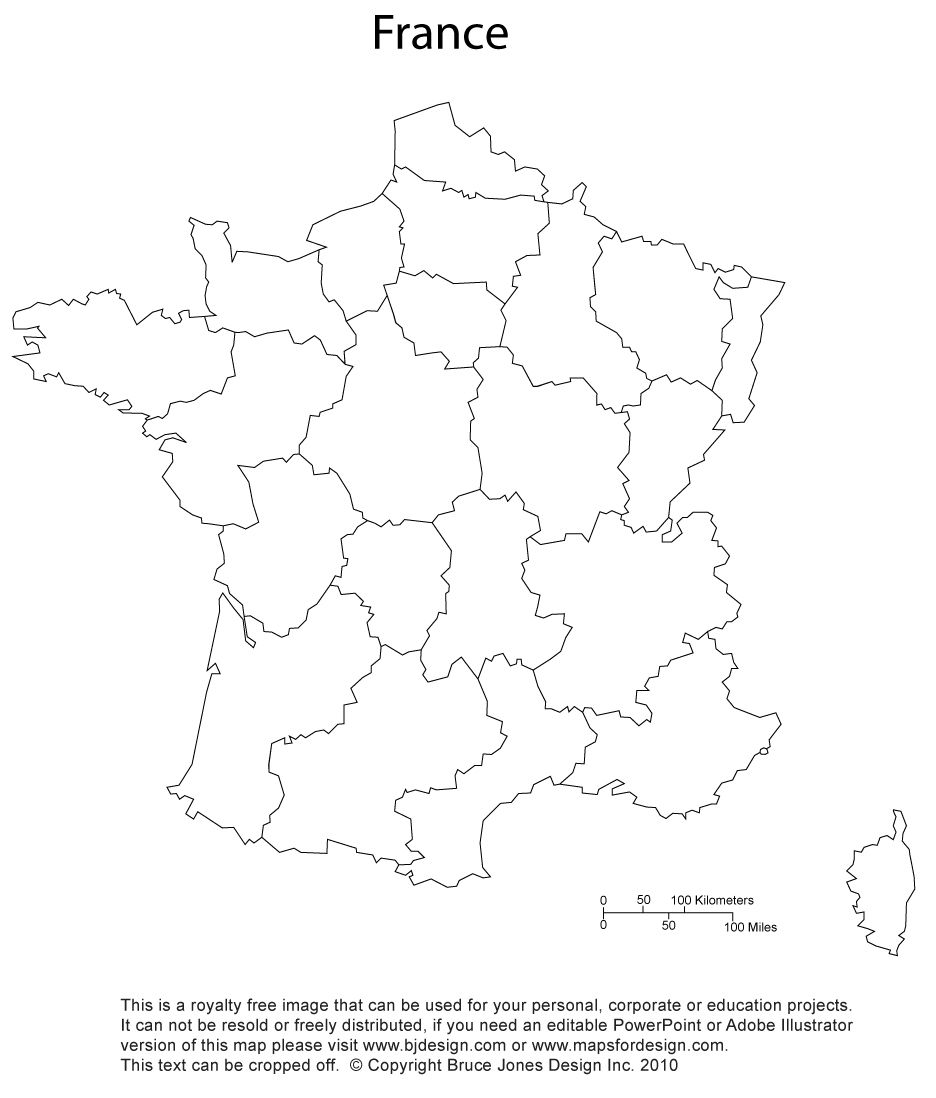 France, printable, blank, map, administrative districts, royalty free, clip art