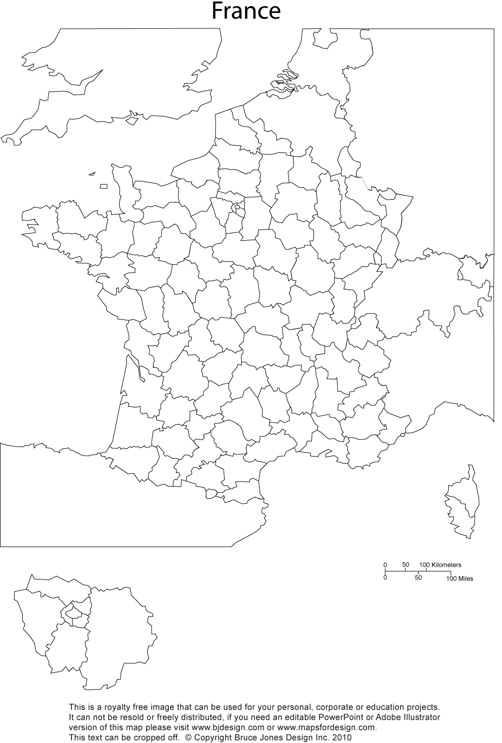 France printable blank map, administrative districts, royalty free, clip art