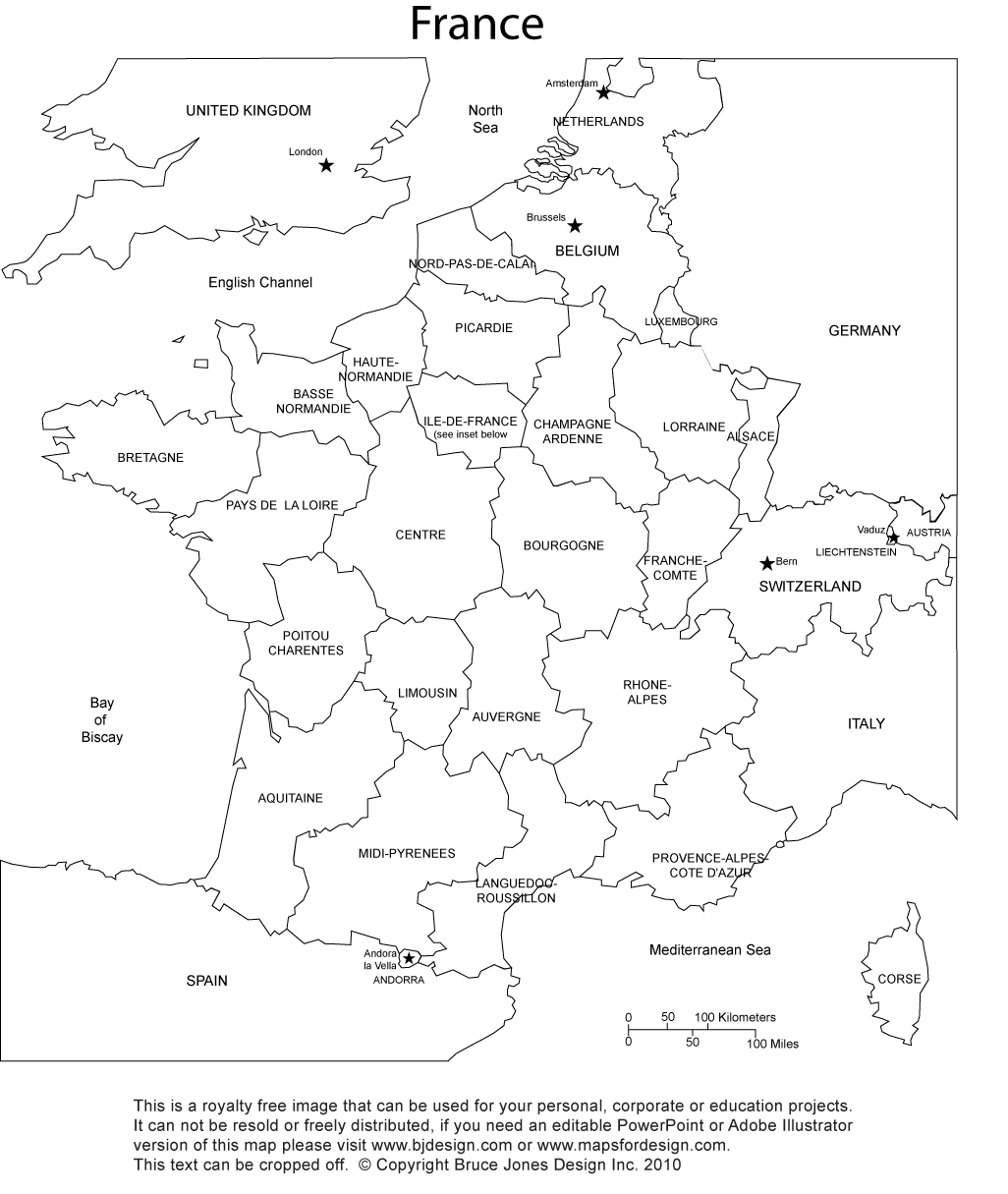 France Blank Printable map with Provinces, royalty free, clip art