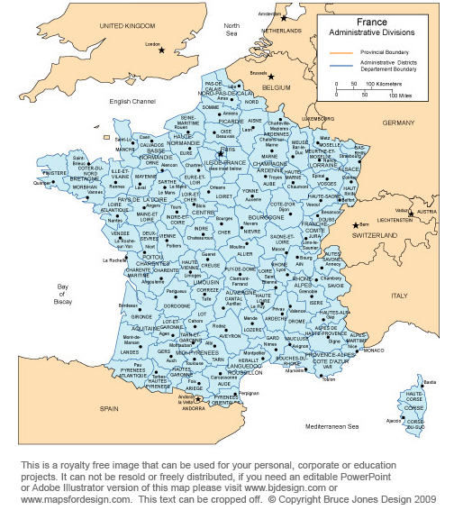 France printable map, royalty free, color, includes surrounding countries,