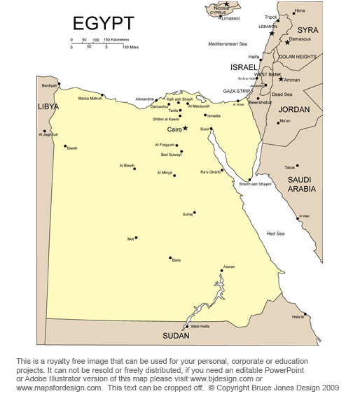 Egypt Map, Middle East Royalty Free jpg