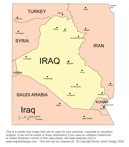 Iraq Map, Middle East, Royalty Free, jpg