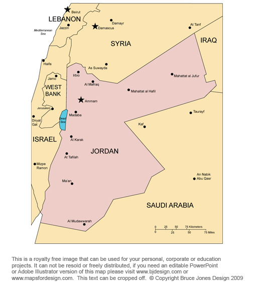 Jordan map, middle east country, royalty free, jpg