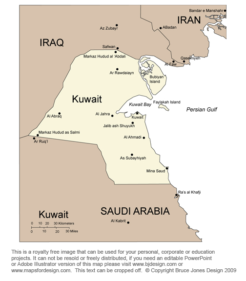 Kuwait map, Kuwait city, Middle East, royalty free, jpg