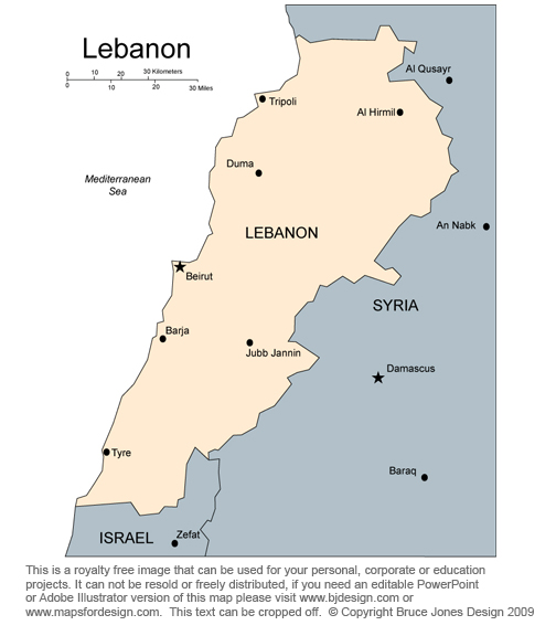 Lebanon Map, Middle East, Royalty Free, jpg