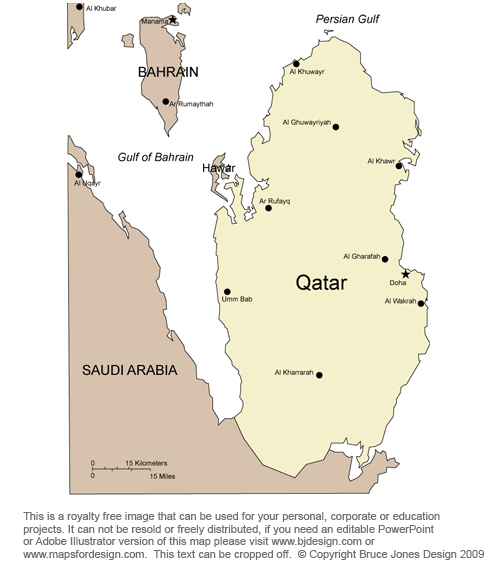 Qatar map, Dawhah, Middle East, royalty free, jpg