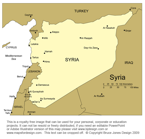 Syria Map, Middle East, Royalty free, jpg