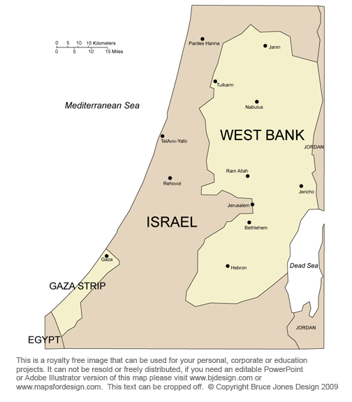 West Bank Map, Middle East Country, Royalty Free, jpg