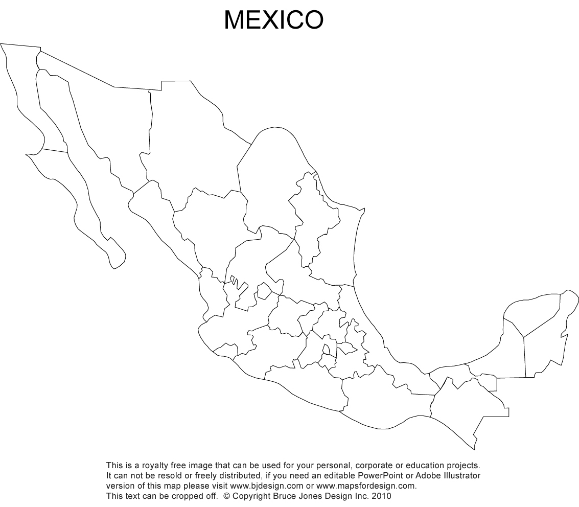 Mexico Blank Printable map, royalty free, clip art