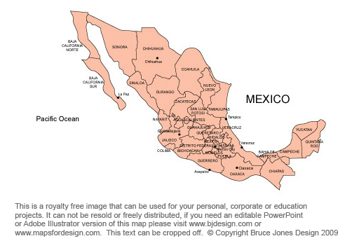 Mexico map, Mexico City, Central America, royalty free, jpg