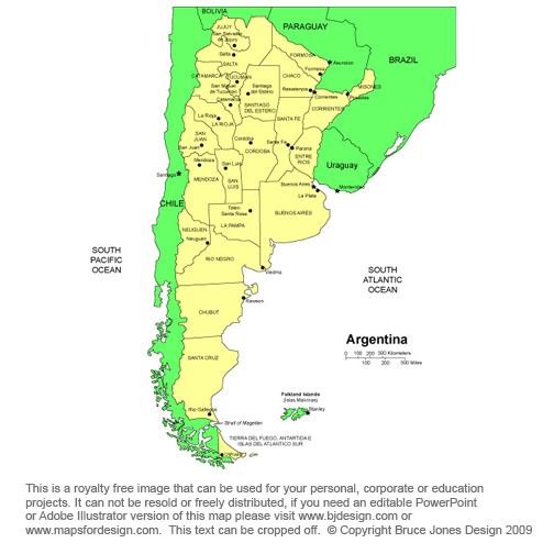 Argentina map South America countries royalty free jpg