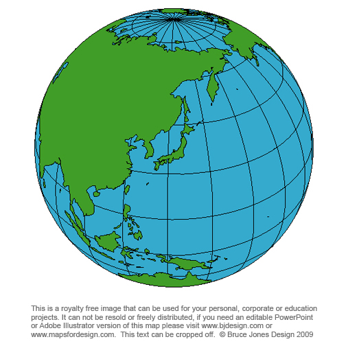 japan world globe map, royalty free, blank,printable, clip art