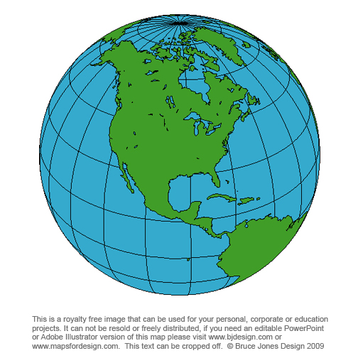 North America Globe Map, royalty free, blank, printable, clipart