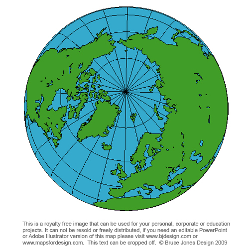 North Pole Globe Map, royalty free, blank,printable,clip art
