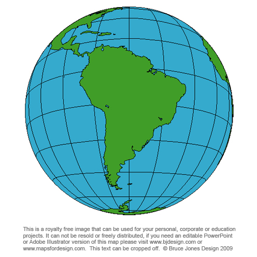 World Globe South America Map, royalty free, printable, blank, clip art