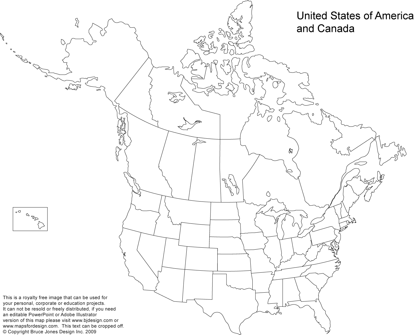US and Canada printable blank outling map, no names, royalty free, jpg