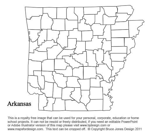 Arkansas US State County Map, blank, printable, royalty free, presentations