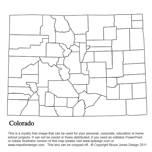 Colorado US State County Map, blank, printable, royalty free, for presentations