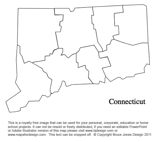 Connecticut US State County Map, blank, printable, royalty free for presentations