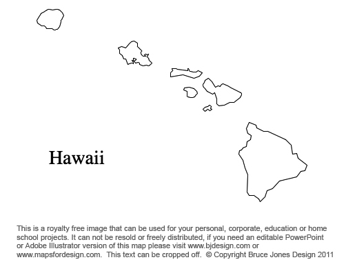 Hawaii US State County map, blank, printable, royalty free presentations