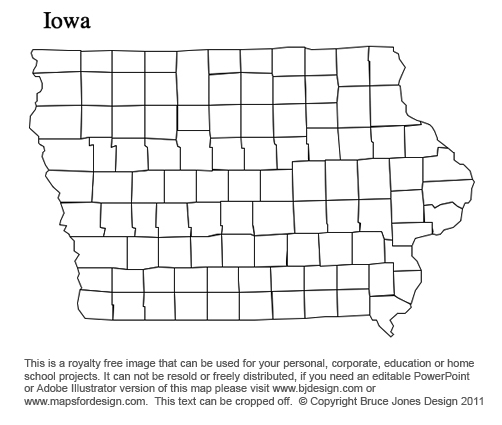 Iowa US State County Map, printable, blank, royaty free for presentations